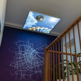 Luchtballon plafond| Foto op Canvas Textiel Frame LED verlichting |120x120 of 124x124|[IMG16]_