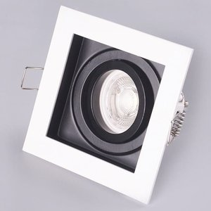 LED GU10 Armatuur Zwart-Wit Verzonken Vierkant IP20 Incl. Fitting