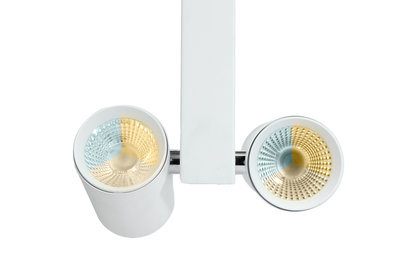 Dubbele LED Spot voor 3-fase Rail Verlichting 4-aderig Dual Wit 2x20W Wit
