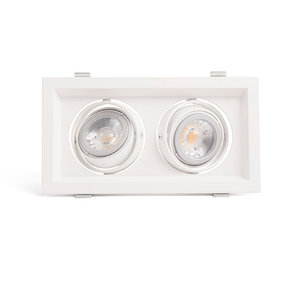 LED GU10 Dubbele Armatuur IP20 Wit Aluminium Vierkant incl. fitting